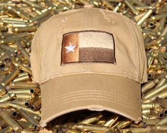 Distressed Texas Flag Hat (Khaki)