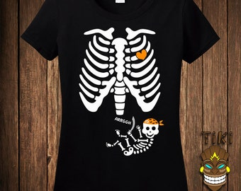 Funny Pregnant Skeleton Pirate Halloween Costume T-shirt Tee Shirt Pregnancy Maternity Trick Or Treat Treating Party Holiday Womens Ladies