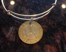 Kazakhstan 100 tenge expandable style wire bangle bracelet bi metal