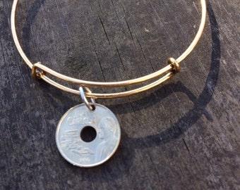 Spain 25 pesetas expandable style wire bangle bracelet