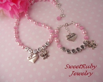 Personalized Girls Bracelet and Necklace Set - Granddaughter & Butterfly Charms - Many Family Memeber Options - Girls/Kids - w/ A Gift Box