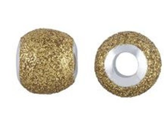 Sterling Silver Gold Glitter Bead, European Bead, Large Hole Bead, 925 stamped, 4.8 mm hole