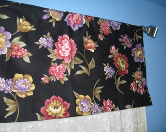 Handmade 100% Cotton  Black White Purple Pink Yellow  Floral Window  CURTAIN VALANCE