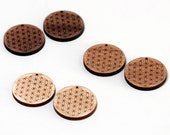 2 Flower of Life Wood Beads - Top Hole : Cherry, Maple or Walnut