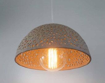 Ceramic lamp shade. Dome pendant light. Pendant lighting fixture. Kitchen light. Made to order