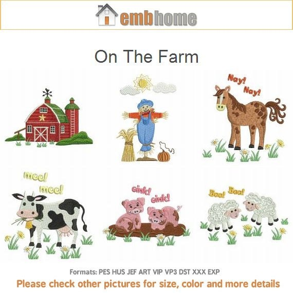 On The Farm Animal Quilt Machine Embroidery Designs Pack