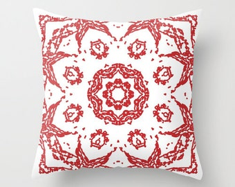 Abstract Mandala Flower Pillow Cover - Red and White - Modern Medallion Throw Pillow - Accent Pillow - Decorative Pillow - includes insert