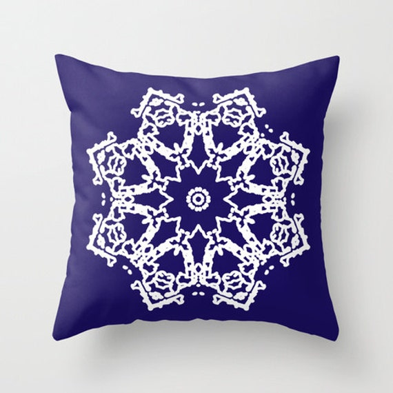 Navy Blue Decorative Bed Pillows : Snowflake Throw Pillow Cover Navy Blue Holiday by AldariHome