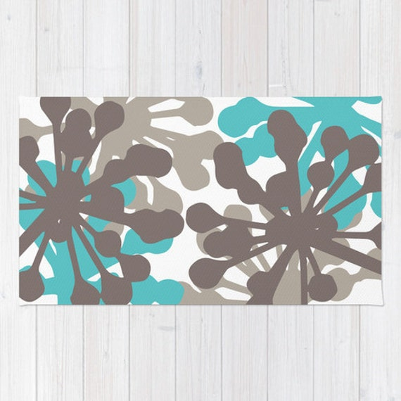Turquoise And Brown Rug: Floral Rug Turquoise Blue And Brown Area Rug Modern