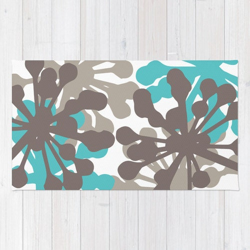Turquoise Kitchen Rugs New Rug In The: Floral Rug Turquoise Blue And Brown Area Rug Modern