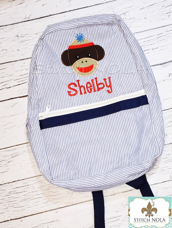 Seersucker Backpack with Sock Monkey, Seersucker Diaper Bag, Seersucker School Bag, Seersucker Bag, Diaper Bag, School Bag, Book Bag, Backpa
