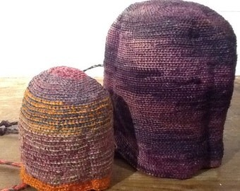 Set of 2 bags made of crocheted fibers