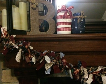 Patriotic, Americana Light Up Rag Garland