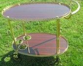 Vintage Bar Cart Mid Century Italian Hollywood Regency Gold Chrome Brown Oval Marked