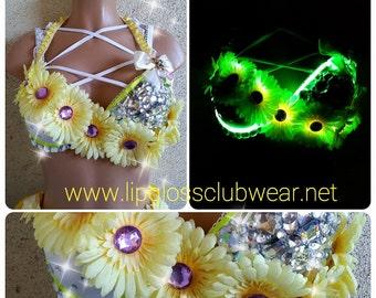 Electric Sunshine Light Up Flower Rave Top, Rave Top, Edc Top, Flower Bra, Rave Bra, Light up Bra, Light up Clothes, EDC, Festival Daisy bra