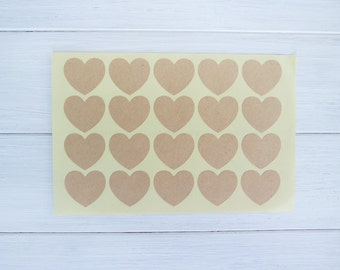 60 Kraft Heart Stickers Labels Envelope Seals / Brown Heart Stickers / 201