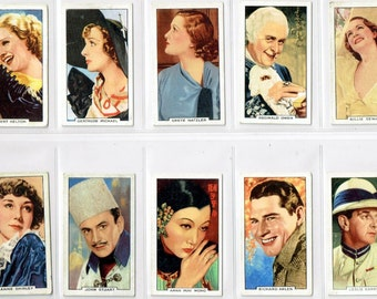 British Cigarette Complete Card Set (48 Cards) - Portraits of Famous Film Stars Issued in 1935 by Gallahar Ltd Cigarettes. Superb Portraits.