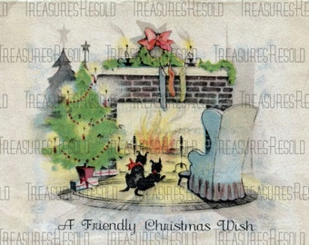 Black Scottie Dogs By Fireplace Christmas Card #349 Digital Download