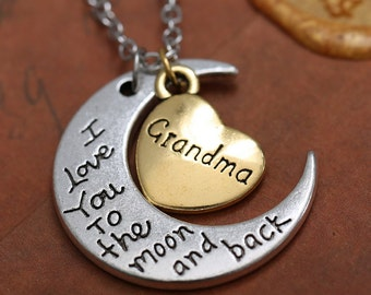 I love you to the moon and back hand stamped Grandma pendant necklace 24 hour shipping