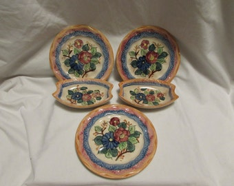 Handpainted in Japan, Three Dessert Plates, Two Side Dishes - 1950's