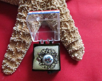 Made In Holland Delft Ring Floral Pattern Silver Tone Filigree Pattern Adjustable