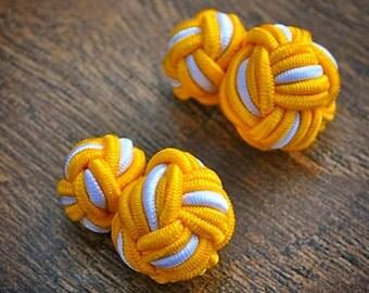 Silk Knot Cufflinks - Yellow and White