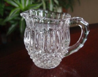 Miniature Pressed Glass Pitcher Creamer Collectible Glass a1860