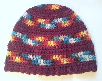 Crochet Hat Superwash Wool Toddler Child Boy Girl Beanie Variegated and Semisolid Yarn