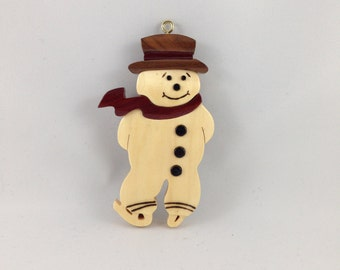 Wooden Skating Snowman Ornament