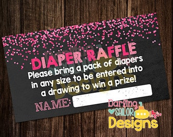 Baby Girl Sprinkle Diaper Raffle, Baby Sprinkle Shower, Print on your own, Digital File, 6 tickets per 8.5x11 print (digital file only!)