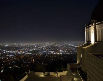 Los Angeles City Skyline and Iconic Griffith Observatory at Night, California - Color Photo Poster City Wall Art Picture - 8x10 or 16x20