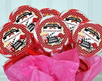 Movie Night Lollipop Sticker, Lollipop Sticker, Movie Night Thank You Tag, Lollipop Tag, Valentine Tag, Movie Night Label, Lollipop Label