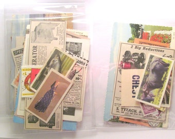 Small vintage paper ephemera pack: 20 mixed pieces for craft. Includes postcard, stamps and more. Pack for scrapbooks, journals, smash books
