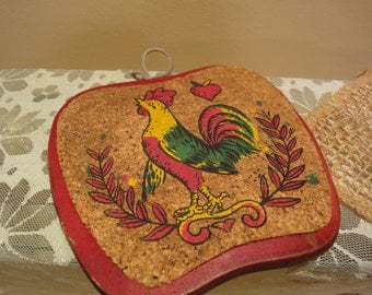 Grouping of Vintage Pot Holders/Six Total/Vintage Kitchen/Farmhouse/Roosters/Apples