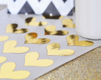 DIY Gold & Silver Foil Heart Stickers (Set of 24)