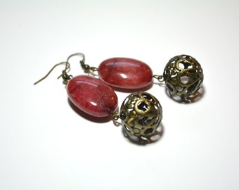 Agate Earrings, Gemstone Earrings, Large Earrings, Burgundy, Red, Chunky Earrings, Gifts for Her, Stocking Stuffers, Christmas Gifts