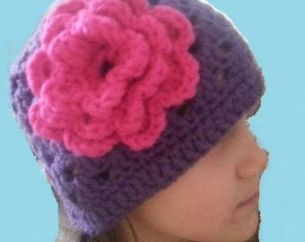 Flowered Granny Square Hat
