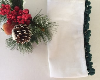 SALE! - Set of 7 White Cotton Napkins with Dark Green Pom Pom Trim - Great for Christmas!