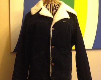 1970s Wrangler Wrange Coat, Navy Blue Corduroy, Size M