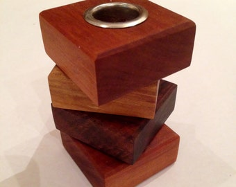 Wooden Candle Holder Pair - Handmade Solid Wood Walnut, Maple, Cherry and Nickel for Taper Candle and European Taper
