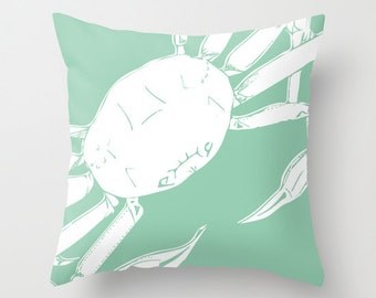 Snow Crab Pillow Cover, Sea Animal home decor, seafoam mint green decorative pillow, nautical decor, sea life decor  30 colors