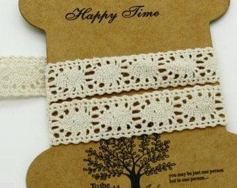 Wholesale Lot   20YDS   beige cotton  Lace Trim DIY Sewing  curtain   2cm  7/8inch