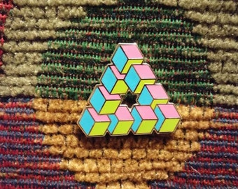Impossible Geometry Sacred G Cube Triangle Pink Blue Yellow Lapel Hat Pin