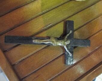 Vintage Crucifix, handmade Jesus on the cross, religious cross, 1940's