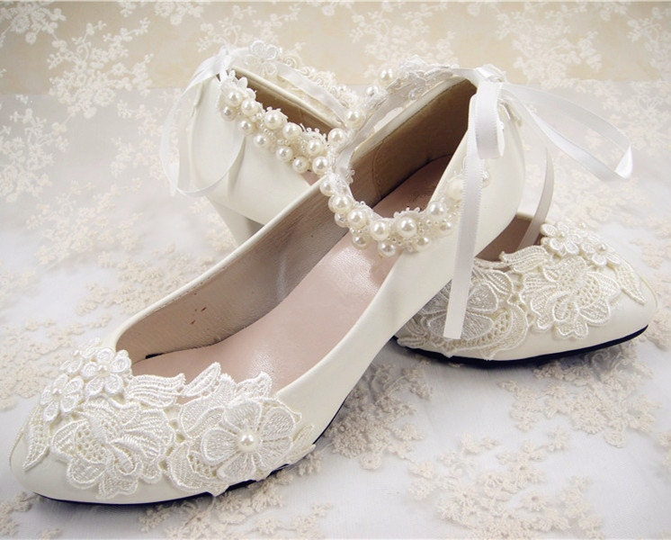 flat lace bridal shoes - photo #22