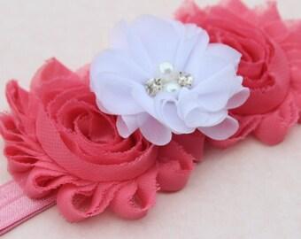 Coral pink headband, flower girl headband, salmon headband, elastic headband, coral pink baby headband, salmon wedding headband