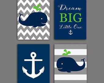 50% OFF Sale Nautical nursery Wall decor, Whale nursery art print, Baby shower gift Gray Navy green nautical Wall decor, 8x10 PRINTABLE