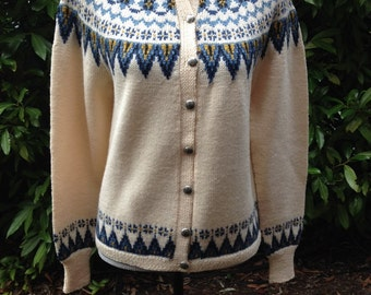 Fair Isle Norwegian wool sweater by Sundt of Bergen-XS