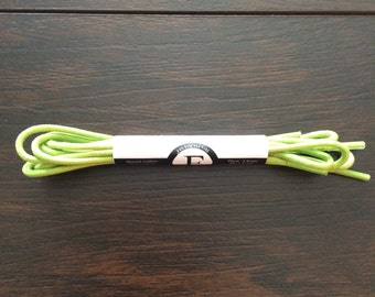 Lime Green Waxed Colored Round Oxford Dress Shoe Laces