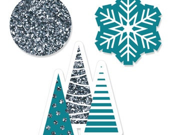 24 pc. Frozen Flakes Shaped Paper Cut Outs - Winter Wedding Decoration Kit